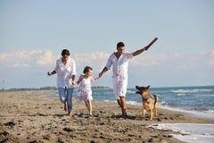 Glückliche Familie, die mit Hund auf Strand spielt Lizenzfreies Stockfoto