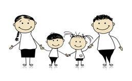 Glückliche Familie, die zusammen, zeichnende Skizze lächelt Stockfotografie