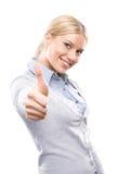 Glückliche Frau, die sich Daumen zeigt Stockfotos