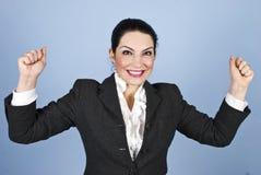 Glückliche Frau: Ich gewann! Stockbilder