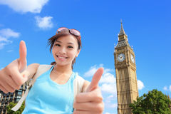 Glückliche Frauenreise in London Stockbilder