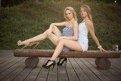 Glückliche Freunde im Park Stockfoto