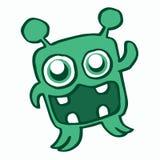 Glückliche grüne Monsterkarikatur für Kinder Stockfoto