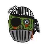 Glückliche Halloween-Piratenzombie-Karikaturillustration Stockbilder