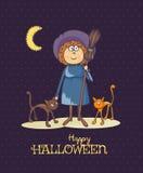 Glückliche Halloween-Vektoreinladungskarte mit Hexe und zwei Katzen Lizenzfreie Stockfotos