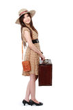 Glückliche junge Frau bereit, im Urlaub zu gehen Stockfoto