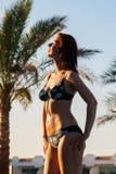 Glückliche junge Frau, die im Bikinibadeanzug über Swimmingpool und im Strand mit Palmehintergrund aufwirft Stockbilder
