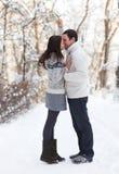 Glückliche junge Paare, die Spaß im Winterpark haben Stockfotos