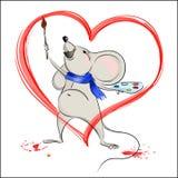 Glückliche Karikaturmaus malt Herz Stockfoto