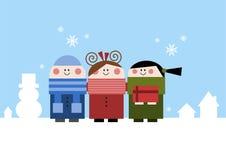 Glückliche Kinder im Winter Stockbild