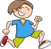 Glückliche laufende Jungenkarikatur Stockfotos
