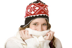 Glückliche lächelnde Frau mit Schutzkappe und Schal Lizenzfreies Stockfoto