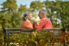 Glückliche ältere Paare, die auf Bank sitzen Stockbilder