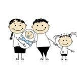 Glückliche Muttergesellschaft mit Kindern, neugeborenes Schätzchen in den Händen Lizenzfreies Stockfoto