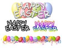 Glückliche Ostern-Fahnen-Zeichen und Rand Stockfotografie