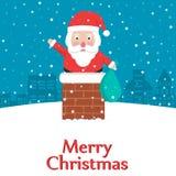 Glückliche Santa Claus, die versucht, am Haus durch Kamin auf Weihnachtsabend teilzunehmen Lizenzfreie Stockfotografie