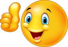 Glückliche smiley Emoticonkarikatur, die Daumen aufgibt Lizenzfreie Stockbilder