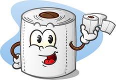 Glückliche Toilettenpapier-Zeichentrickfilm-Figur, die eine Rolle des Badezimmer-Gewebes hält Stockfotos