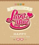 Glückliche Valentinsgrußmitteilungs-Klassikerfahne Lizenzfreie Stockfotos