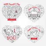 Glückliche Valentinstaggrußkarte, Aufkleber, Ausweise, Symbole, i Stockbild