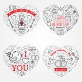 Glückliche Valentinstaggrußkarte, Aufkleber, Ausweise, Symbole, i Stockbilder