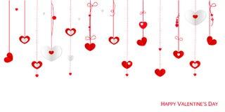 Glückliche Valentinstaggrußkarte mit hängenden Herzen des Grenzdesigns vector Hintergrund Stockfotos