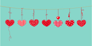 Glückliche Valentinstagkarte mit dem Grenzdesign, das rote Herzen hängt, vector Hintergrund Stockfotos