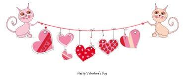 Glückliche Valentinstagkarte mit den netten Katzen, die Gekritzelherz hängen, vector Hintergrund Stockbilder