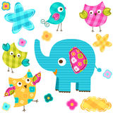Glückliche Vögel und Elefant Stockfotos