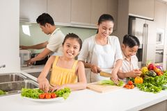 Glückliche vietnamesische Familie Stockfotografie