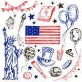 Glücklicher amerikanischer themenorientierter Gekritzelsatz Memorial Day s Stockfoto