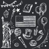 Glücklicher amerikanischer themenorientierter Gekritzelsatz Memorial Day s Lizenzfreies Stockfoto