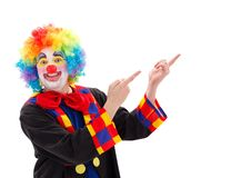 Glücklicher Clown, der aufwärts zeigt Stockfoto