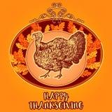 Glücklicher Danksagungs-Tag Gezeichnete Vektorillustration der Weinlese Hand mit Truthahn und Herbstlaub Lizenzfreie Stockfotografie