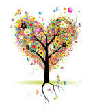 Glücklicher Feiertag, Innerformbaum mit Ballonen Stockfotografie