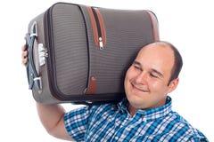 Glücklicher Fluggastmann mit Gepäck Stockbilder