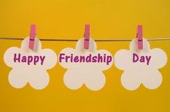 Glücklicher Freundschafts-Tagesmitteilungsgruß über weißer Blume etikettiert das Hängen von den Klammern auf einer Linie Lizenzfreies Stockbild