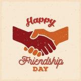 Glücklicher Freundschafts-Tagesvektor-Retro- Karte, Plakat oder eine Hintergrund-Schablone Stockfoto