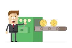 Glücklicher Geschäftsmann druckt Packs des Geldes auf dem Förderer Illustrationsweißhintergrund Flaches Bild Stockfotografie
