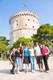 Glücklicher Gruppentourist in Griechenland Lizenzfreie Stockfotografie
