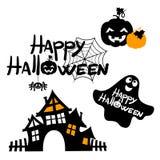 Glücklicher Halloween-Gestaltungs- der Werbebotschafthintergrund, Vektorillustration Stockbilder