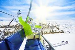 Glücklicher, herausgenommener Skifahrer Lizenzfreies Stockbild