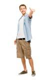 Glücklicher Mann greift herauf weißen Hintergrund ab Stockfotografie