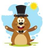 Glücklicher Murmeltier-Karikatur-Maskottchen-Charakter, der einen Hut trägt und unter Sonnenschein begrüßt Stockfoto