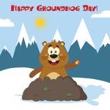 Glücklicher Murmeltier-Karikatur-Maskottchen-Charakter, der in Groundhog Day wellenartig bewegt Stockbild