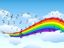 Glücklicher Regenbogen mit Musikanmerkungshintergrund Lizenzfreie Stockfotos