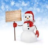 glücklicher Schneemann 3d, der ein Zeichen des hölzernen Brettes hält Stockfotos