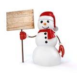 glücklicher Schneemann 3d, der ein Zeichen des hölzernen Brettes hält Lizenzfreies Stockfoto