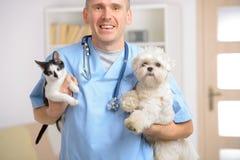 Glücklicher Tierarzt mit Hund und Katze Stockfoto