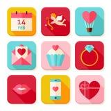 Glücklicher Valentine Day Square App Icons-Satz Lizenzfreie Stockfotos
